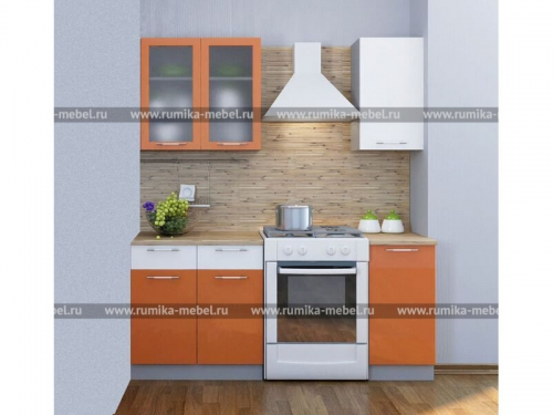 Кухня Мечта глянец оранжевый-белый
