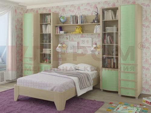 Детская Валерия Дуб беленый с зелеными вставками