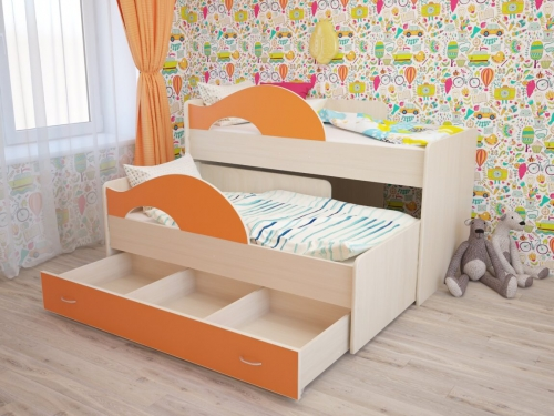 Кровать двухъярусная выкатная Матрешка с ящиком дуб-оранж